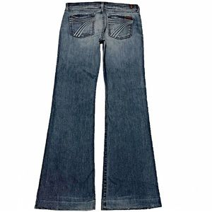 7 For All Mankind Dojo 30X34 Long Flare Blue Jeans